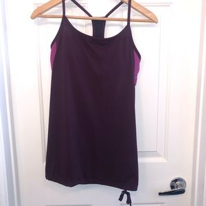 Fabletics Purple Runch Bottom Padded Bra Tank Top